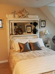 guest bed headboard using white antique fireplace mantel from dad s birth home has been repainted