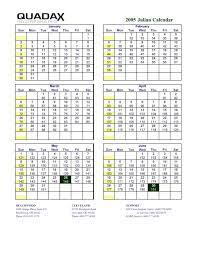 Julian Calendar 2005