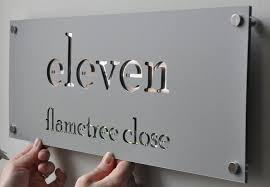 Small Picture Laser Cut House Numbers Stainless Steel on Mirror backing 75