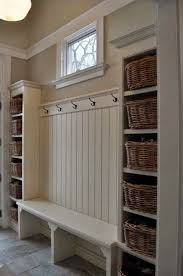 White Mud Room With Basket Storage