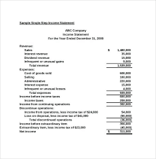 Small Business Financial Statement Template For Sample