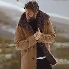 Feitong Mens Winter Sheepskin Bomber Jacket Winter Warm