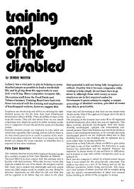 Training and Employment of the Disabled