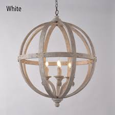 rustic hanging wooden globe chandelier vintage ceiling light white distressed