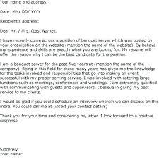 Cover Letter For A Server Cover Letter For Banquet Server Benrihikaku Com
