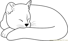 Small Picture Ginger Cat Sleeping Coloring Page Free Cat Coloring Pages