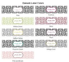 Personalized Damask Water Bottle Label 10 Pcs Personalized Water