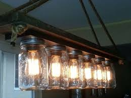 glass jar lighting. mason jar 6 light edison hanging lamp glass lighting