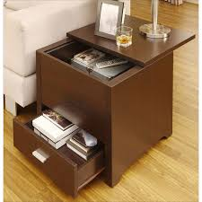 table with storage. dark espresso end table kai with double storage | overstock.com