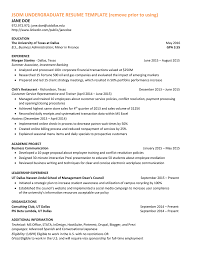 Ut Dallas Resume JSOM UNDERGRADUATE RESUME TEMPLATE remove prior to using JANE DOE 1