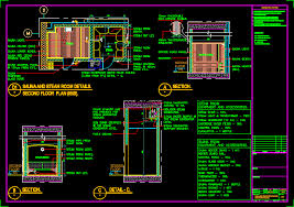 sauna and steam room details dwg