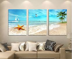 3 panel large beach canvas seascapes palm tree paintings 3 piece wall art coconut home decor