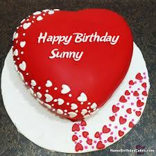 The Name Sunny Is Generated On Romantic Birthday Image Of Cake