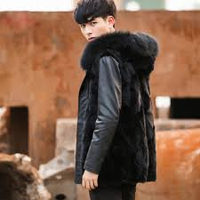 mens winter fur jacket fur collar splice leather jacket men black faux fur coat men winter