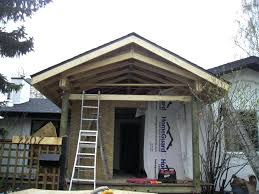 how to build a gable porch roof tying a patio roof into existing house cost to