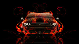 dodge challenger fire car