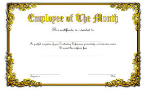Printable Employee Of The Month Certificates Certificate Templates Blank Employee Of The Month