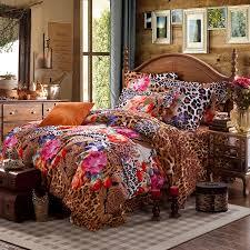 queen size fl comforter sets brown pink and orange y jungle safari themed leopard flower 11