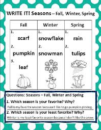 The Four Seasons And Weather Chart Graphing Activities Follow Up Activities