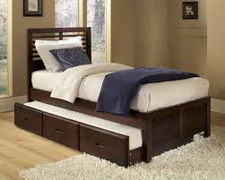 Space Saving Ideas For Small Bedroom With Brown Varnishes Teak Wood Single  Bed Which Has Trundle ...