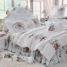 whole luxury white lace princess bedspread duvet cover set 4 red flower ruffles bedding sets bed skirt bedclothes bedsheet cotton red duvet cover yellow