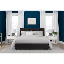 DHP Emily Black Upholstered Faux Leather Full Size Bed Frame-4107029 ...