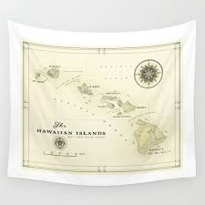 hawaiian islands vintage inspired map