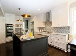 Kitchens Two Tone Black Kitchen Island Marble Countertop White Ideas