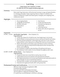 Yoga Teacher Resume Best Yoga Instructor Resume Example Livecareer