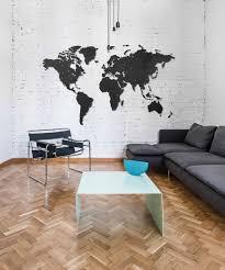 Wooden World Map Diy Giant Black Hdf