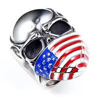 whole biker jewelry china hot snless steel biker rings american flag mask skull