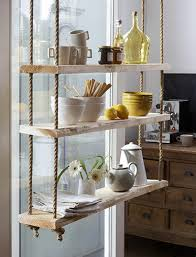 Staggering Hanging Shelves From Ceiling Stunning Decoration Rope And Timber  Suspended To Stabilise It