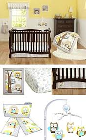yellow gray owl neutral baby boy girl nursery crib bedding pers mobile target