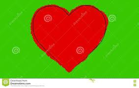 Dessin Anim D Un Grand Coeur Rouge De Battement Sur Un Cran Vert