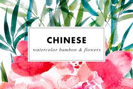 chinese watercolor flowers bamboo clip art by heartmade thehungryjpeg com
