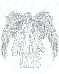 Anime Angel Coloring Pages An Angel In Anime Motion Coloring Page