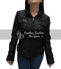 exquisite women quilted design black biker leather jacket front