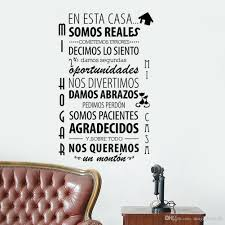 Wall Decal Quotes Gorgeous Spanish En Esta Casa Wall Stickers Quote Living Room Bedroom
