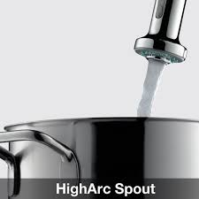 hansgrohe 04310001 chrome talis s pull down kitchen faucet with higharc spout magnetic docking non locking spray diverter ecoright 1 5 gpm