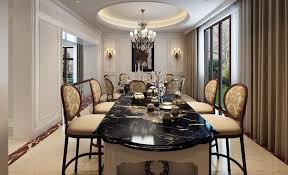elegant formal dining room decor ideas with black marble table top and high dining chairs plus classic chandelier also cream window curtains