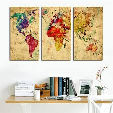 vintage world watercolor map 3 pieces canvas wall art canvas painting wall pictures home decor living on vintage wall art canvas with aliexpress buy vintage world watercolor map 3 pieces canvas