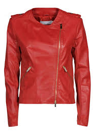kaos red leather jacket front cropped image