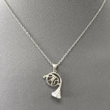 details about dainty simple silver chain french horn rhinestone pendant necklace