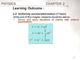 learning outcome 2 2 uniformly accelerated motion 1 hour