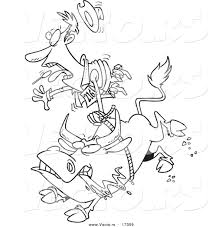Small Picture Vector of a Cartoon Rodeo Bull and Cowboy Coloring Page Outline
