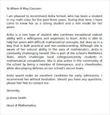 samples of a letter of recommendation samples of letter recommendation college sample smart gallery
