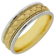 Dora Mens Braided Wedding Band In 14kt White And Yellow Gold 7mm
