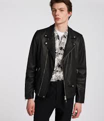 mens milo leather biker jacket black image 1