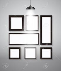 Abstract Gallery Background With Lighting Lamp And Frame Empty