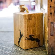 solid oak boxing hare doorstop
